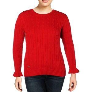 Ralph Lauren red cable knit flutter sleeve sweater